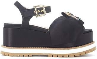 Tipe E Tacchi Black Satin Wedge Sandal With Jewel Buckle