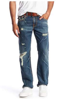 True Religion Men's Distressed Straight Flap Jeans