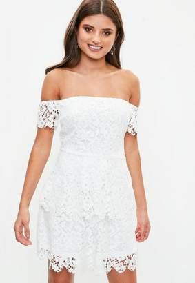 Missguided White Lace Bardot Double Layer Skater Dress