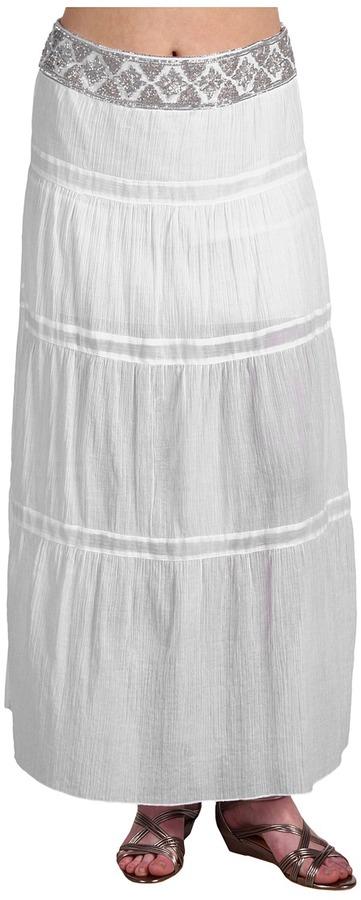 ABS by Allen Schwartz Embellished Waist Gauze Maxi Skirt (White) - Apparel