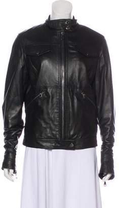 Dolce & Gabbana Leather Long-Sleeve Jacket