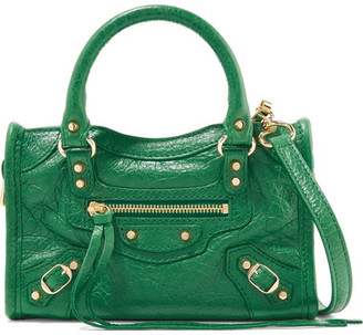 Balenciaga - Classic City Nano Textured-leather Shoulder Bag - Forest green $1,150 thestylecure.com