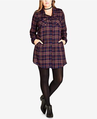 City Chic Trendy Plus Size Plaid Tunic Shirt
