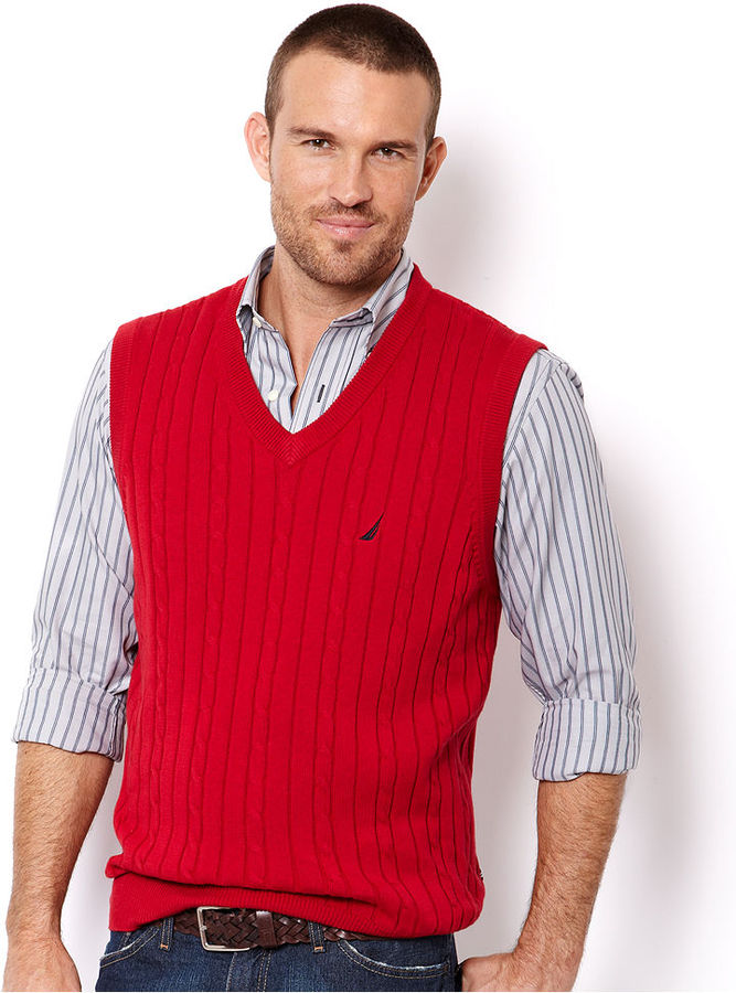 Nautica Big and Tall Vest, Cable Sweater-Vest