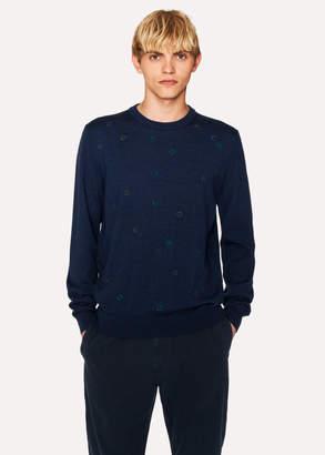 Paul Smith Men's Navy Merino Wool Embroidered-Spot Sweater