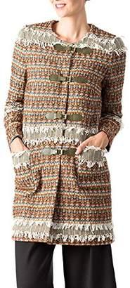 Piel etiem Women's Abrigo C/Redondo Apliques Coat, Multicolour (Multicolor 01), (DE 40)