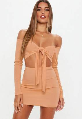 Missguided Ribbed Mini Skirt And Tie Front Top Co ord