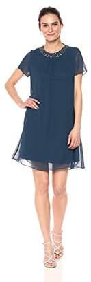 S.L. Fashions Women's Sleeve Sequined Embellished Neckline Short Dress