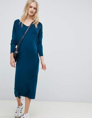 Asos DESIGN Midi Sweater Dress With V Neck And Ripple Stitch