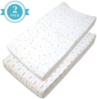T.L.Care Tl Care TL Care 2 Pack Arrows & Feathers Jersey Knit Fitted Contoured Changing Table Pad Cover