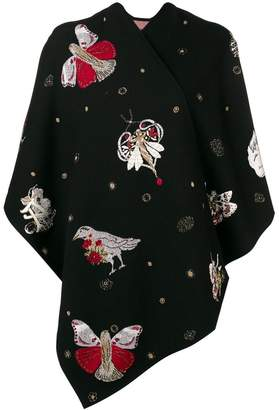 Alexander McQueen butterfly embroidered shawl knit