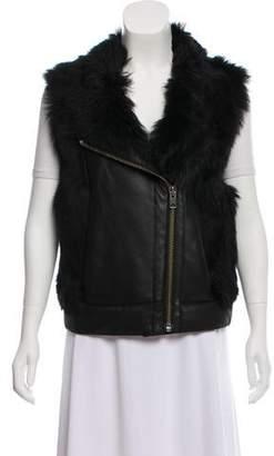 Helmut Lang Fur-Trimmed Leather Vest
