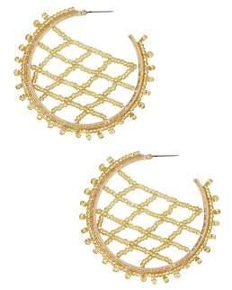 BaubleBar Crochet Lattice Hoop Earrings