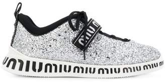 Miu Miu glitter lace-up sneakers