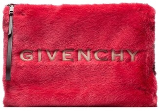 Givenchy red and white logo embroidered faux fur pouch