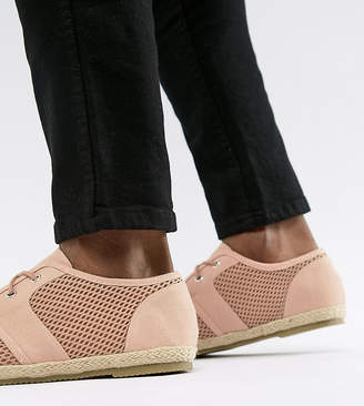 Brave Soul Wide Fit Lace Up Espadrilles In Pink