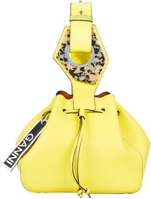 Ganni Bright Yellow Leather Bucket Clutch