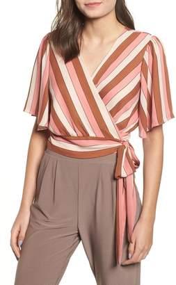 Leith Stripe Wrap Blouse