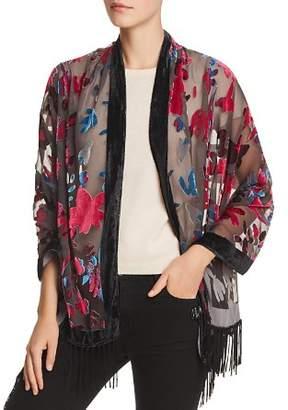 Aqua Fringed Floral Velvet Burnout Wrap - 100% Exclusive