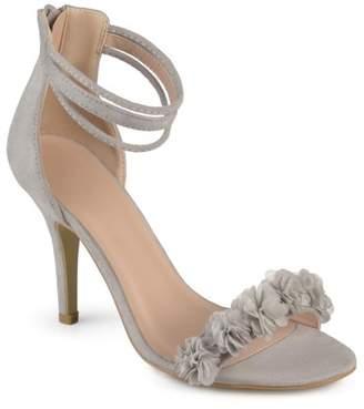 Brinley Co. Women's Faux Suede Flower Ankle Strap High Heels