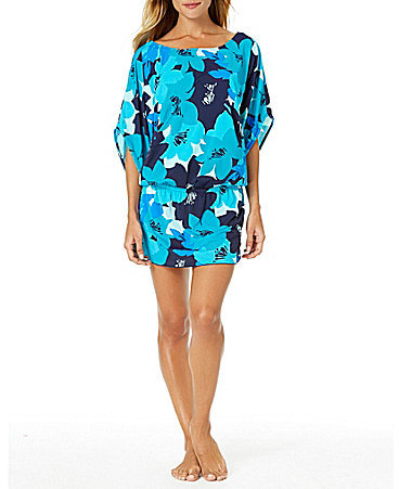 Anne ColeAnne Cole Full Bloom Kangaroo Pouch Caftan Cover-Up