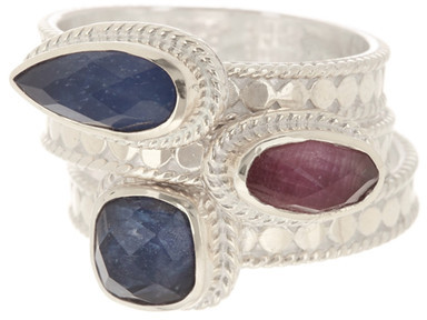 Anna Beck Anna Beck Sterling Silver Ruby & Sapphire Stacking Ring Set