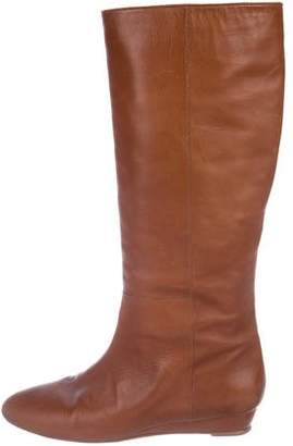 Loeffler Randall Leather Round-Toe Mid-Calf Boots