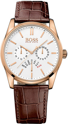 HUGO BOSS 1513125 heritage leather and stainless steel watch $210 thestylecure.com