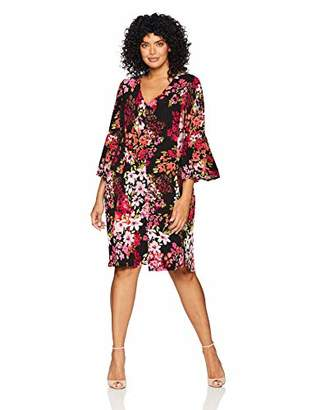 13aefdfb297 London Times Women s Plus Size 3 4 Bell Sleeve V Neck FIT and Flare Dress