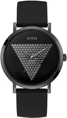 GUESS Men Black Silicone Strap Watch 44mm
