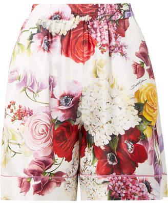 Dolce & Gabbana Floral-print Silk-twill Shorts - White