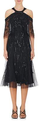 Monique Lhuillier Women's Embellished Tulle Cold-Shoulder Dress