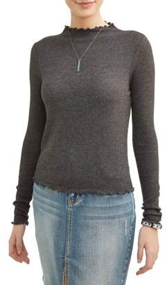 No Boundaries Juniors' High Neck Frill Edge Cropped Rib Knit Long Sleeve T-Shirt