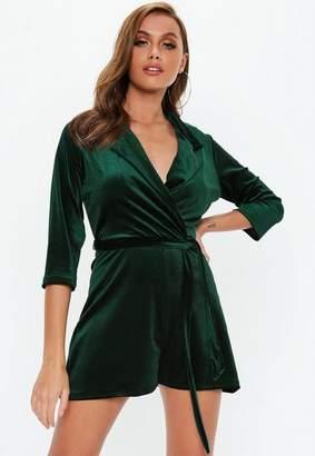 Missguided Green Velvet Blazer Romper