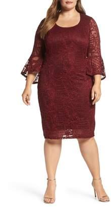 Marina Bell Sleeve Glitter Lace Sheath Dress
