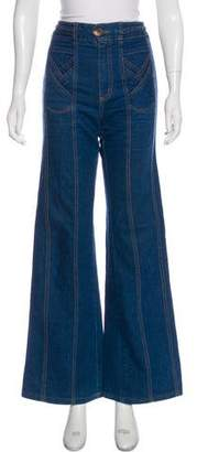 Grey Ant Braid-Trimmed High-Rise Jeans