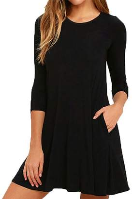 Amstt Women's Pockets Round Neck 3/4 Sleeves A-line Casual Swing T-Shirt Dress