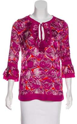 Tory Burch Abstract Print Silk-Blend Blouse