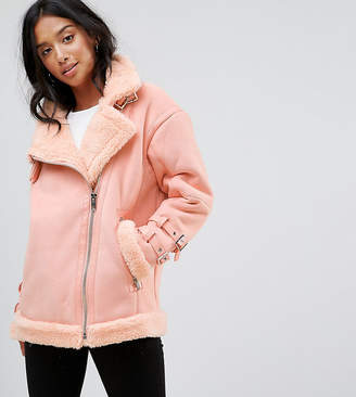 Asos Aviator Jacket in Faux Suede