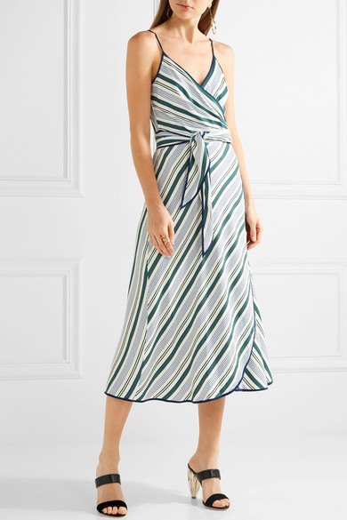 Tory Burch - Villa Striped Satin-twill Wrap Dress - Blue 5