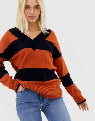 Miss Selfridge v neck sweater in stripe