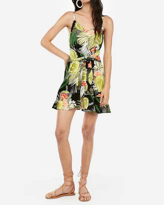 Express Floral Relaxed Tie Front Flounce Dress