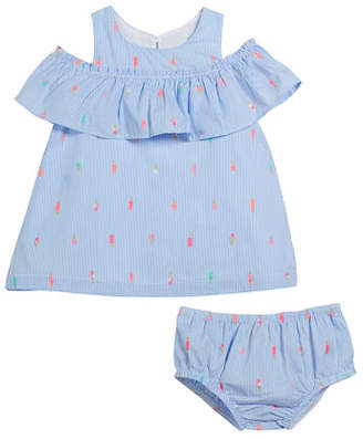 Kate Spade Striped Mini Ice Pops Cold-Shoulder Dress W/ Bloomers, Size 12-24 Months