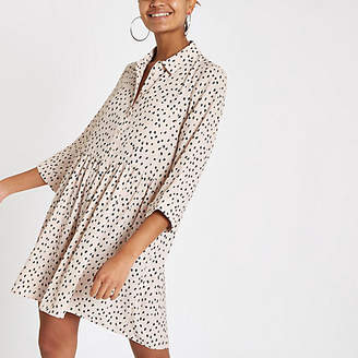 River Island Womens White spot long sleeve shirt dress