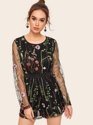 Shein Floral Embroidered Mesh Overlay Romper