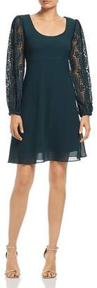 Nanette Lepore nanette Pleated-Lace Sleeve Dress