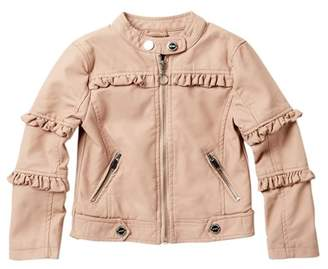 Urban Republic Faux Leather Ruffle Jacket (Toddler & Little Girls)