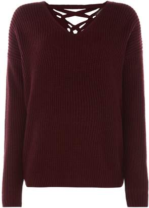 Repeat Cashmere V neck merino wool lace back jumper