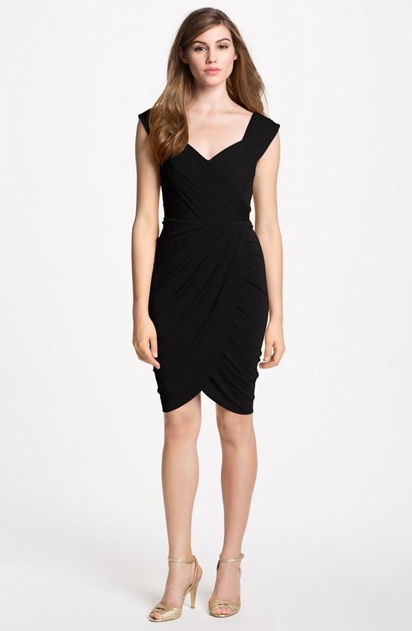 Nicole Miller Pleat Matte Jersey Dress