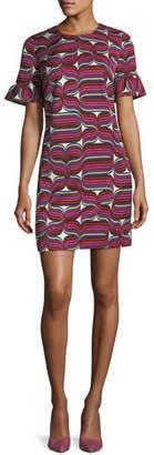 Trina Turk Ribbon-Print Faille Sheath Ruffle-Sleeve Dress
